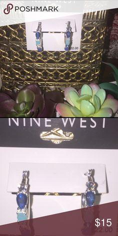 Nine West Blue Azure Silvertone Hoop Earrings New with Tags Nine West Jewelry Earrings