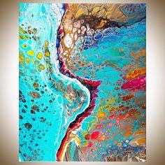 Abstract painting Acrylic pour fluid art original artwork