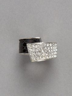 A-dorable! Croc pleather with pave ring that hinges open (one size fits all!) from Cache'.