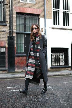 Plaid Scarf, Long Coat