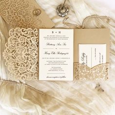 Champagne Gold and Ivory Shimmer Laser Cut Wedding Invitation. Gold and Ivory. Pocket Invitation, Laser Cut Invitation, Wedding Invitation Samples, Laser Cut Wedding Invitations, Gold Wedding Invitations, Wedding Invitation Design, Wedding Programs, Custom Invitations, Wedding Venues