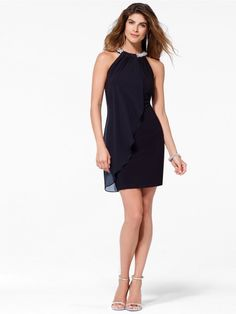 941dba1555a2 Black Chiffon Dress with Beaded Neck