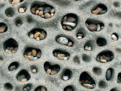 Pebbles in tafoni, Pebble Beach, San Mateo County, California