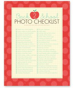 FREE Download: Back to School Photo Checklist from Simple As That.  50 ideas & photography prompts to documents child's school year.