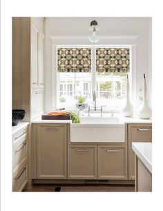 Faux Roman Shade Valance in Modern Grey and White Trellis Print, Fully Lined, Custom Made, Geometric Lattice Print Kitchen Window Treatment Modern Roman Shades, Faux Roman Shades, Kitchen Rug, Kitchen Curtains, Kitchen Backsplash, Black Room Design, Modern Window Treatments, Bali, White Trellis