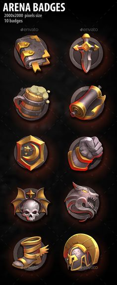 Arena Badges by a-ravlik | GraphicRiver Game Icon Design, Scrolls Game, Badge Icon, Casual Art, Pixel Size, Game Interface, Game Concept, Cg Art, Game Assets