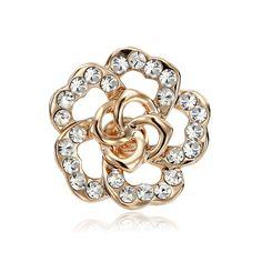 Gold Rose Flower Lapel Pin Brooch