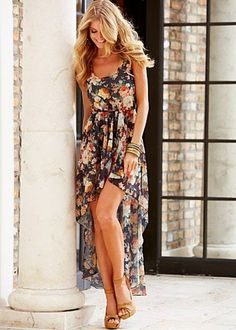 Sheer floral dress with an elongated bottom