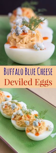 Buffalo Blue Cheese Deviled Eggs - this spicy twist on the classic deviled egg recipe adds your favorite wing flavors of hot sauce and blue cheese to the classic picnic menu staple. A perfect party appetizer or a low carb, high protein snack. Low Carb Appetizers, Appetizers For Party, Appetizer Recipes, Popular Appetizers, Cheese Appetizers, Healthy Deviled Eggs, Deviled Eggs Recipe, Healthy Protein Snacks, High Protein