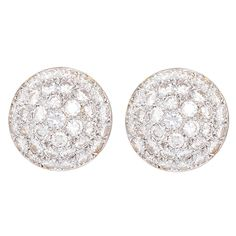Beautiful Diamond Gold Dome Shaped Earrings | From a unique collection of vintage stud earrings at https://www.1stdibs.com/jewelry/earrings/stud-earrings/