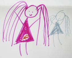 kid's drawing, announcing the baby-to-be