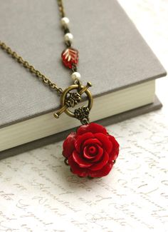 Red Rose Necklace. Romantic Red Flower Ivory Pearl Bridal Wedding Jewelry Bridesmaid Gift.