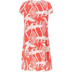 Zara Bird Print Dress (495 MXN) ❤ liked on Polyvore featuring dresses, red, bird print dress, bird dress, zara dresses and red dress