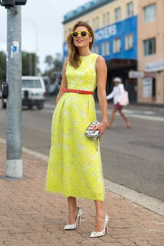 bright yellow dress with colorful belt #summer #brights
