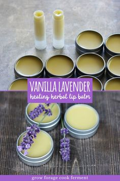 Make your own homemade vanilla lavender lip balm. It's an easy DIY herbal project that smells amazing! Lip Scrub Homemade, Diy Scrub, Homemade Vanilla, Homemade Skin Care, Homemade Beauty Products, Diy Lavender Beauty Products, Homemade Cosmetics Diy, Lush Products, Diy Beauté