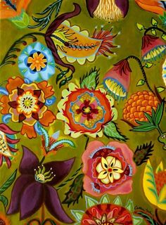 """Everything finished work wise for today. Dogs groomed, hair cut ( quite a lot off for me). Great painting by Catherine Nolin. She loves colour, 🧡"""" Art Floral, Motif Floral, Floral Design, Floral Prints, Textile Patterns, Print Patterns, Textiles, Naive Art, Botanical Illustration"""