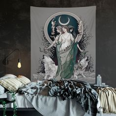 Gray Moon Goddess Art Hecate Tapestry Moon and Wolves Tapestry Witchy Art Black and White Gothic Art #HecateArt #GothicTapestry #MoonGoddess #WitchArt #LunaTapestry #WitchesAndWolves #WolfTapestry #WitchyTapestry #HecateTapestry #WitchyArt