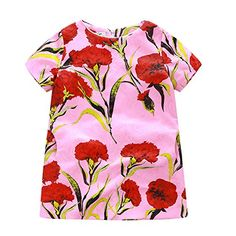 Chinatera Kids Little Girls Short Sleeves Carnation Floral Printed ALine Dress 67Y Pink ** To view further for this item, visit the image link.
