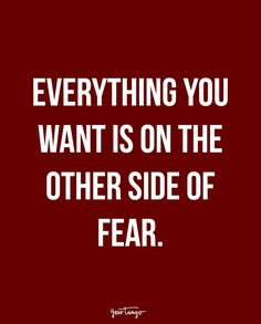 """""""Everything you want is on the other side of fear."""""""