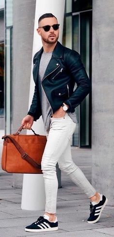 Classic leather with tight white Levi's.