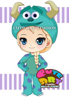 Elsa wearing sulley costume by crowndolls
