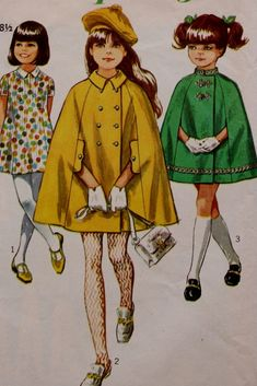 Simplicity 8072 Child's and Girls' Cape and Dress Vintage Pattern Vintage Mode, Vintage Girls, Vintage Children, 1960s Fashion, Kids Fashion, Vintage Fashion, Fashion Goth, Vintage Outfits, Vintage Dresses