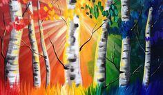 Paint Night Tutorial Rainbow Birch tree's Beginner Acrylic Tutorial ASL