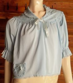 Vintage Lingerie BED JACKET Light Blue Small by ReallyCoolClothes
