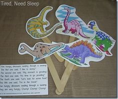 stick puppets to use with rhymes about dinosaurs - link to the templates are on the site