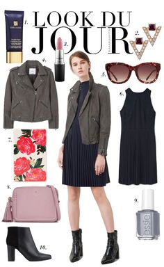 Look Du Jour: In Deckung! Black pleated dress+black ankle boots+brown leather jacket+blush shoulder bag+carey sunglasses. Fall Outfit 2016