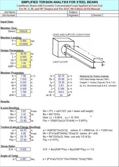 Quick and simplified torsion analysis of W, S, M, and HP steel beams. Download structural analysis software TORSION9 1.0 developed by Alex Tomanovich.