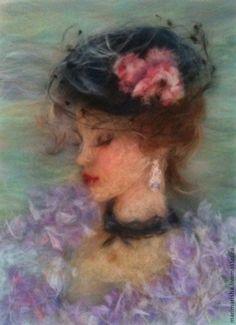 """Картина из шерсти """"Девушка из прошлого"""" - сиреневый,картина для интерьера"""