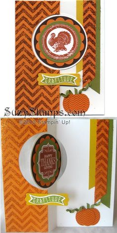 Stampin' Up! Cards - 2013-10 Fall Cards Class, Thanksgiving Flip Card, Harvest of Thanks, Positively Chevron, Thinlits Card Dies, Orange Glitter