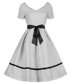 Lindy Bop 50's Martina Polka Dot Dress In White | Tiger Milly