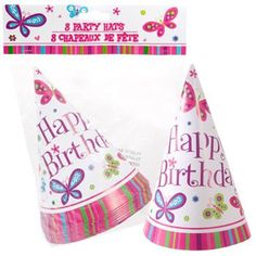 """Happy Birthday"" Butterfly Party Hats, 8-ct. Pack"