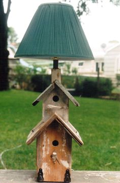 Bird House Lamp - I bought one just like this today at Goodwill. Yeah, I'll be removing the lamp.