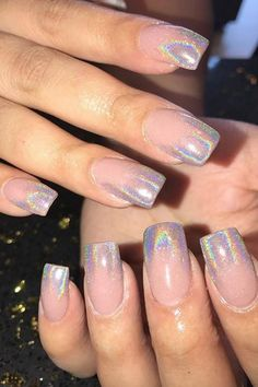 Ombre Nail Ideas Holographic How mesmerizing is this manicure? Ombre Nail Ideas's achieved by employing a holographic chrome powder over a beige base. Ombre Nail Colors, Pink Ombre Nails, Ombre Nail Designs, Nail Manicure, Gel Nails, Acrylic Nails, Gel Powder Nails, Coffin Nails, Glitter Acrylics