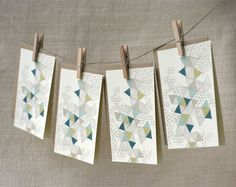 Note Card Set  Love Triangles by witandwhistle on Etsy. Nice way of presenting cards.