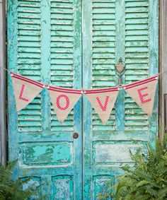 Take a look at this 'Love' Burlap Banner by Glory Haus on #zulily today!