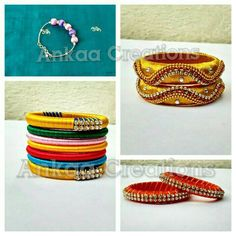 handmade beautiful silk thread bangles made for a little girl :) :)  please like our page https://m.facebook.com/ankaa.creations thank you :)