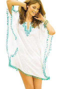White Pompom Trim Embroidered Chiffon Caftan