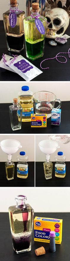 Magic Potion Bottles | Click Pic for 20 DIY Halloween Decorations for Kids to Make | Cheap and Easy Halloween Decorations on a Budget