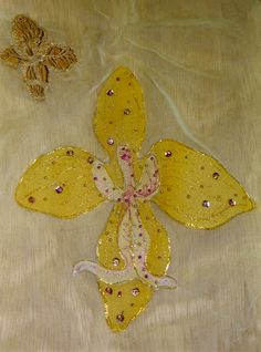 applique yellow silk chiffon embroidered and beaded orchid