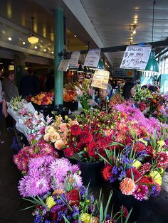 Pike Place Market flowers, Seattle by Theodore Scott, via Flickr