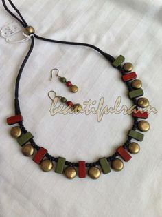 Funky Jewelry, Jewelry Art, Antique Jewelry, Beaded Jewelry, Handmade Jewelry, Jewelry Design, Terracotta Jewellery Making, Terracotta Jewellery Designs, Terracotta Earrings