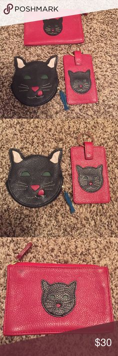 Cat Accesories Black cat change purse, key fob with ID slot and small bag for lipstick or other necessities. Have been used and show some signs of wear. Coin purse shaped like cats face retails for $40 on its own. Comes with dust bag. J.P. Ourse & Cie Accessories
