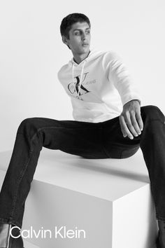 The fall uniform. Monogram Logo Hoodie. By Bibi Borthwick. #MYCALVINS Mens Sweatshirts, Hoodies, My Calvins, Monogram Logo, Calvin Klein Jeans, Man Shop, Fall, Sexy, Clothes