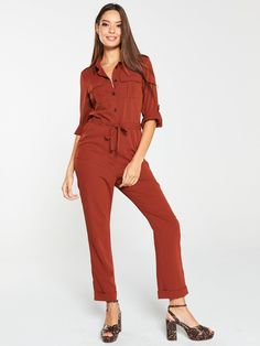 V By Very Casual Utility Jumpsuit - Spice, Spice, Size Women - Pice - 16 High Leg Boots, Long Toes, Cuff Sleeves, Dress Outfits, Dresses, Body Measurements, Shoulder Sleeve, Work Wear, Fitness Models