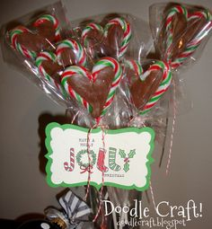 Picture of Candy Cane Chocolate Heart Pops!