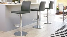 Elise Chrome Gas Lift Bar Stool in putty grey from Danetti.